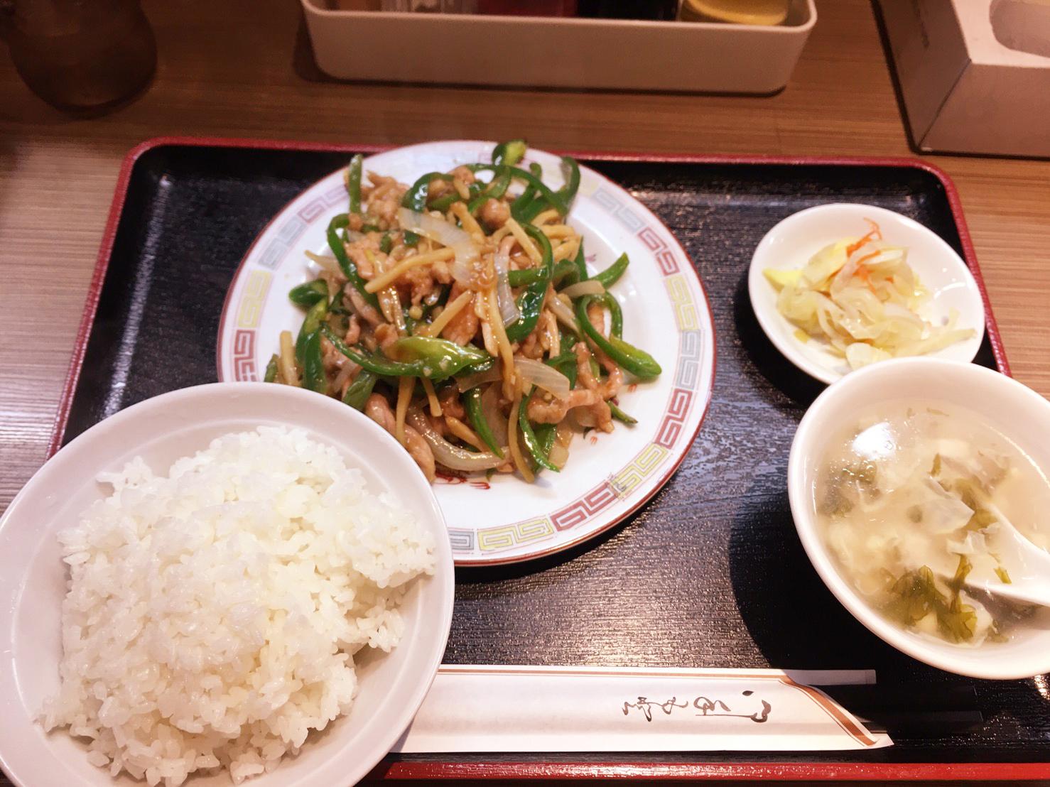 中華料理 食楽亭 豚肉とピーマンの定食