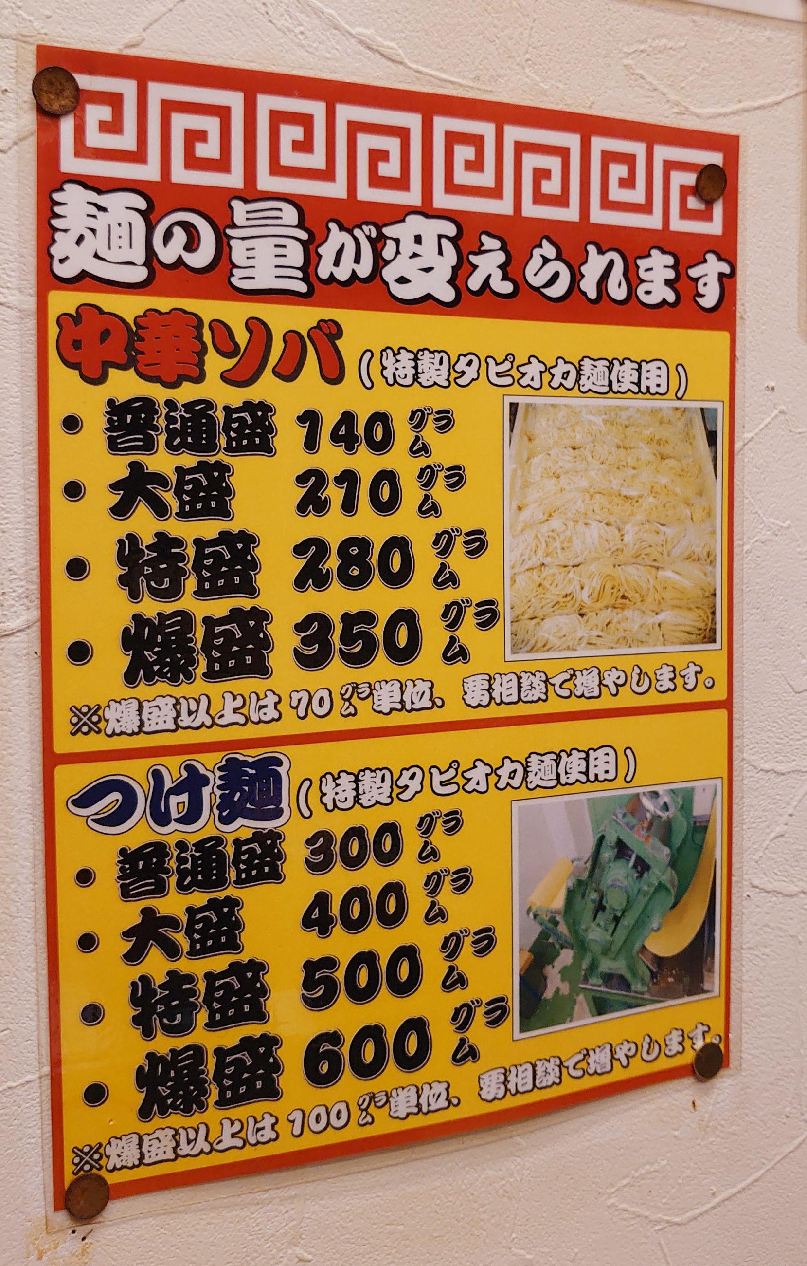 鳴門 川口 麺の量